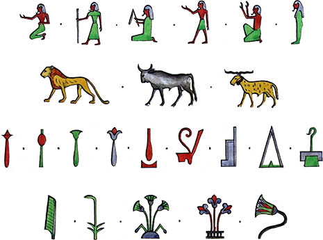 Hieroglyphic examples from Champollion's Grammiare 4